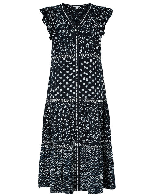 Rima Batik Print Dress in LENZING™ ECOVERO™, Blue (NAVY), large