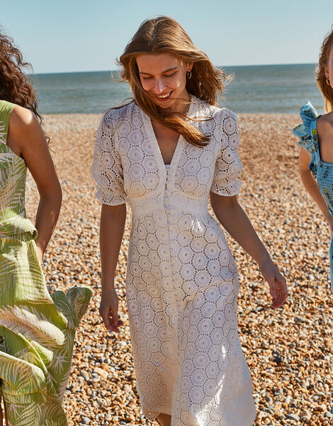 Mia Broderie Tea Dress Ivory, Ivory (IVORY), large