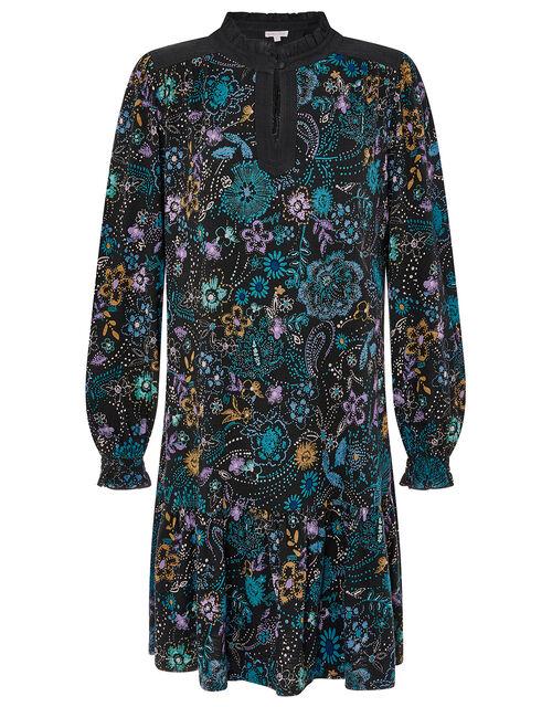 Floral Print Short Dress, Black (BLACK), large