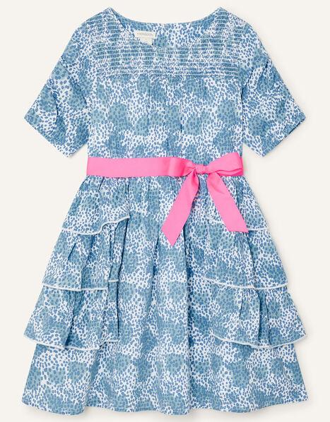 Splodge Printed Frill Midi Dress Blue, Blue (BLUE), large