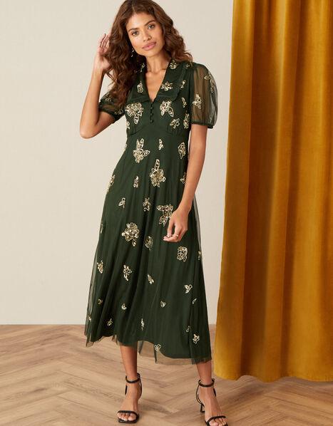 Lauren Embellished Tea Dress Green, Green (OLIVE), large