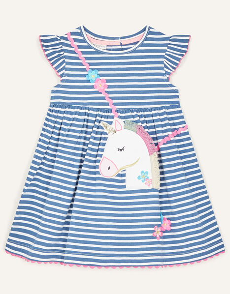 Baby Unicorn Stripe Dress Blue, Blue (BLUE), large
