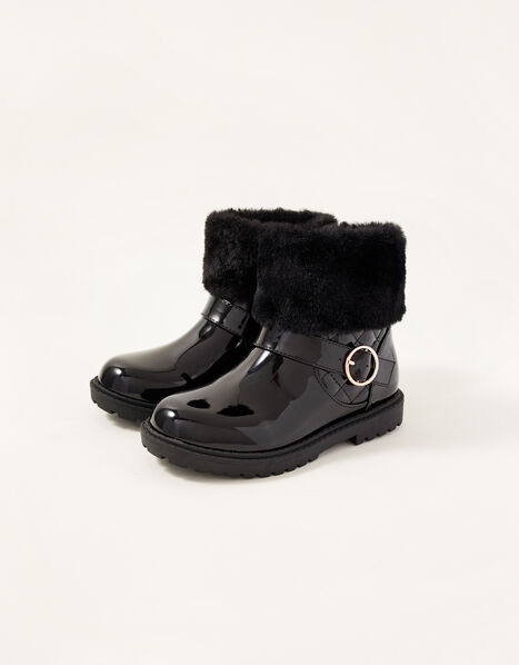 Patent Fur Trim Boots Black, Black (BLACK), large