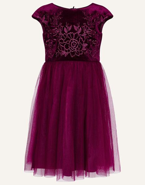 Floral Embroidered Velvet Dress Red, Red (BURGUNDY), large