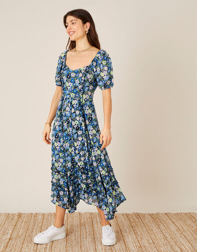 Marleigh Printed Dress in Sustainable Viscose  Blue, Blue (NAVY), large