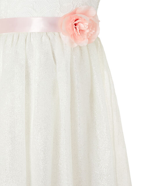 Melody Sparkle Dress with 3D Flower Belt, Ivory (IVORY), large