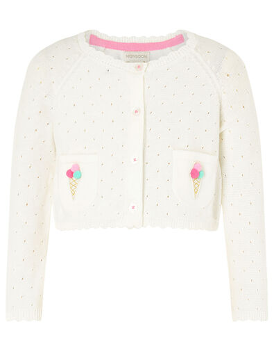 Baby Ice Cream Knit Cardigan Ivory, Ivory (IVORY), large