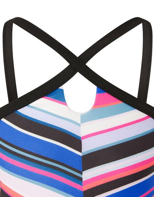 Stripe Print Bikini Set, Blue (BLUE), large