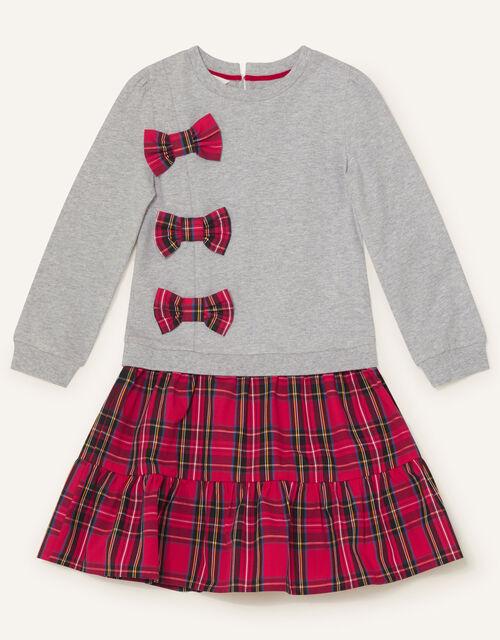 Check Print 2-in-1 Dress, Grey (GREY), large