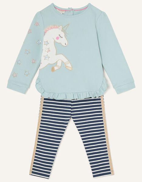 Baby Unicorn Sweatshirt and Leggings Blue, Blue (BLUE), large