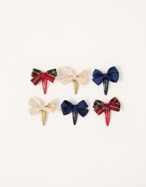 School Bow Hair Clip Set, , large
