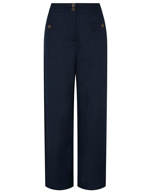 Charlotte Long Length Trousers in Linen Blend, Blue (NAVY), large