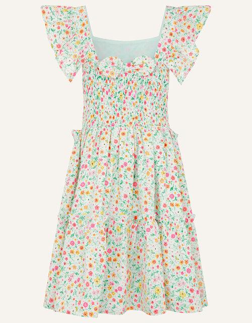 Ditsy Frill Dress, Blue (AQUA), large