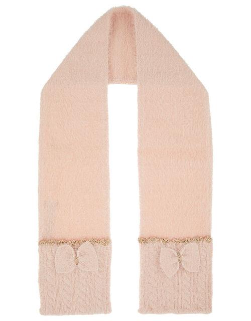 Poppy Sparkle Bow Fluffy Knit Scarf, , large