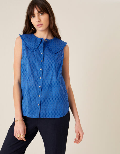 Dobby Top in Organic Cotton  Blue, Blue (BLUE), large