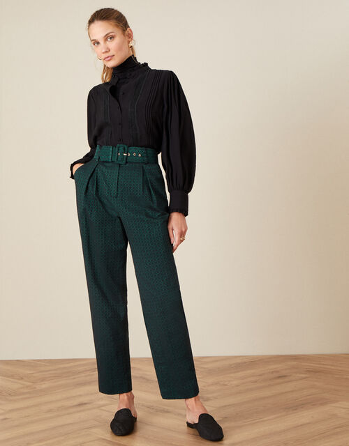 Hattie Jacquard High Waisted Trousers, Green (GREEN), large