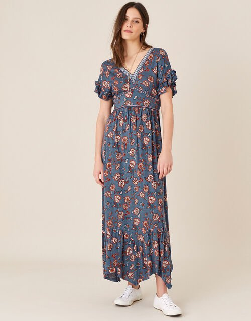 Etty Floral Jersey Maxi Dress, Blue (NAVY), large