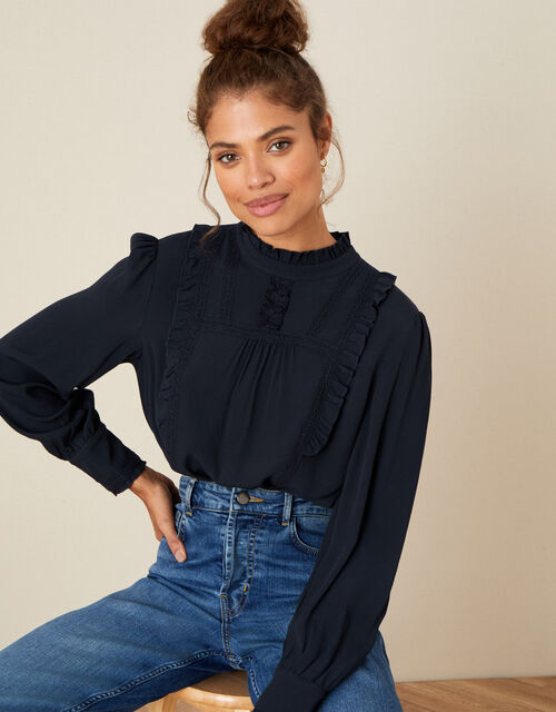 Ruffle and Lace Trim Top, Blue (NAVY), large