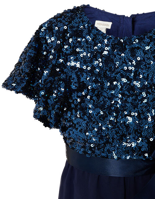 Sequin Flutter Sleeve Jumpsuit , Blue (NAVY), large