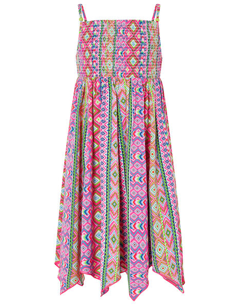 Xena Printed Hanky Hem Dress in Recycled Polyester Pink, Pink (PINK), large