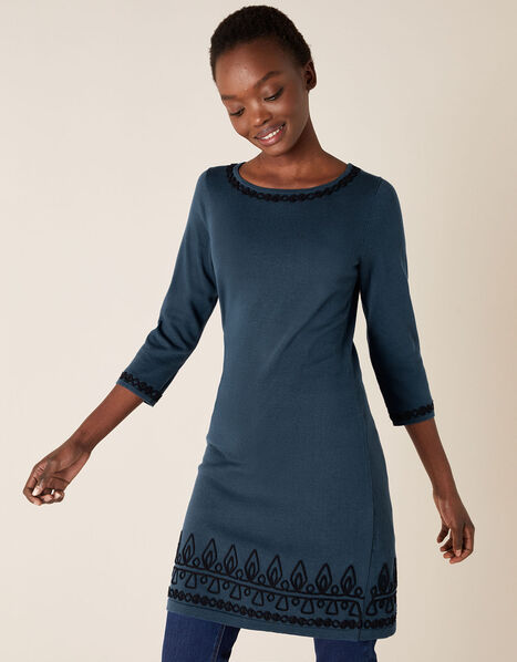 Cornelli Trim Knit Dress Teal, Teal (TEAL), large