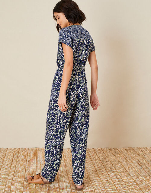 Printed Jumpsuit in LENZING™ ECOVERO™, Blue (NAVY), large