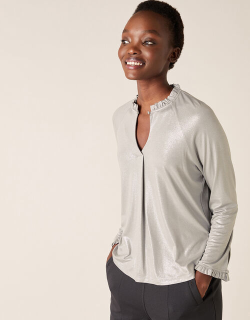 LOUNGE Gayle Shimmer Blouse, Grey (GREY), large