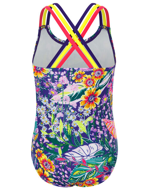 Isobelline Floral Swimsuit with Recycled Polyester, Blue (NAVY), large