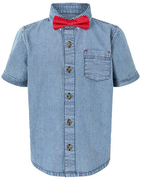Striped Shirt and Bow Tie Set Blue, Blue (BLUE), large
