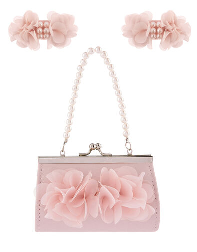 Ruffle Flower Bag and Hair Clip Set, , large
