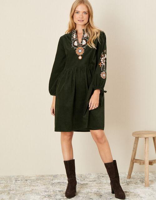 Audrey Embellished Cord Dress, Green (GREEN), large