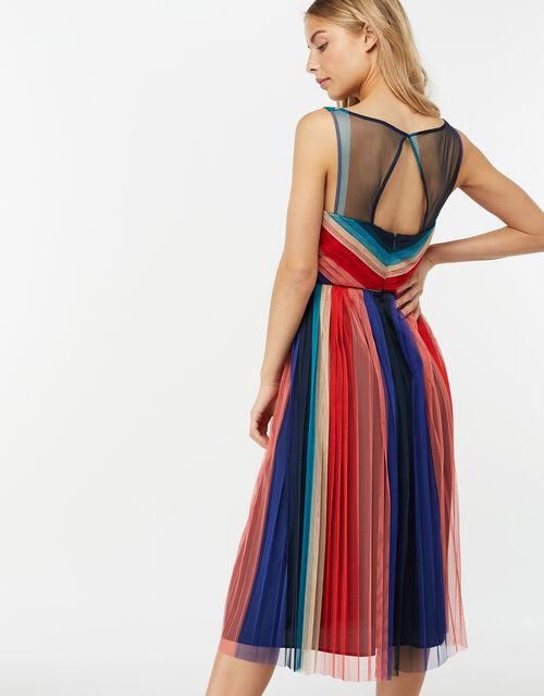 Simone Stripe Pleated Mesh Dress, Blue (NAVY), large