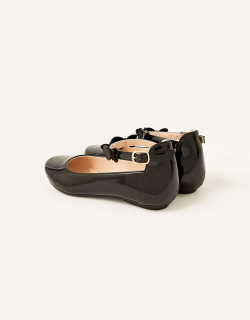 Patent Butterfly Strap Ballerina Flats , Black (BLACK), large
