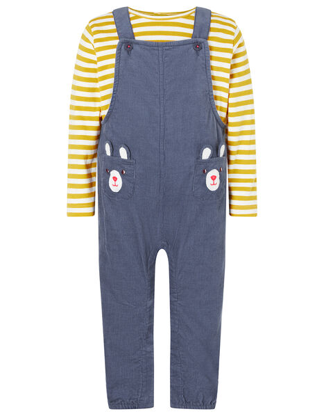 Newborn Baby Bear Dungarees Set Blue, Blue (BLUE), large