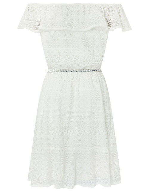 Leah Lace Bardot Dress with Belt, Ivory (IVORY), large