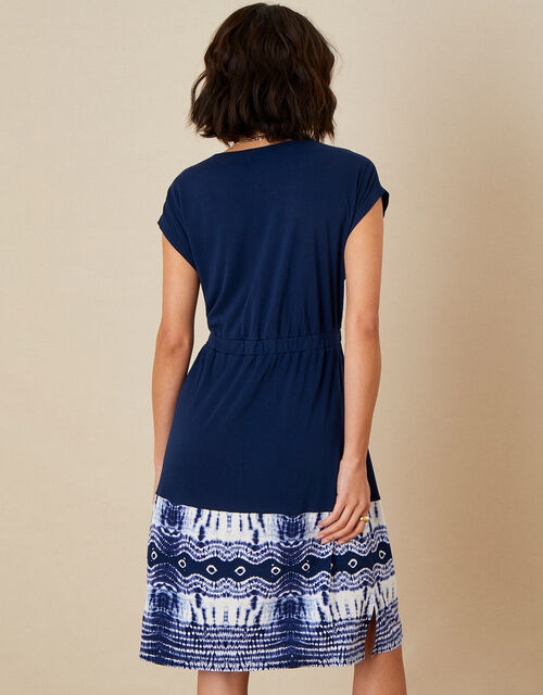 Tie Dye Hem Dress, Blue (NAVY), large