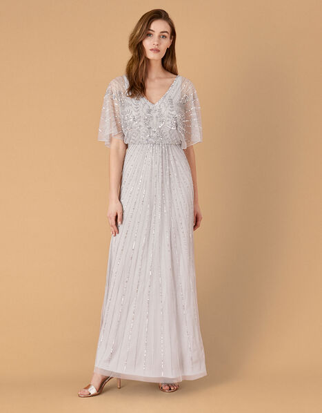 ARTISAN Tabitha Embellished Maxi Dress Silver, Silver (SILVER), large