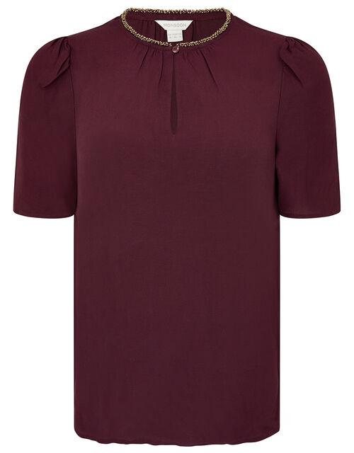 Embellished Neck Top with LENZING™ ECOVERO™, Purple (PURPLE), large
