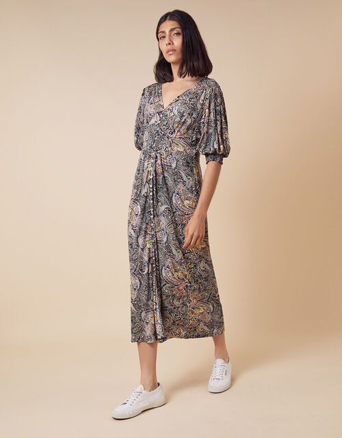 Paisley Jersey Midi Dress in Sustainable Viscose, Blue (NAVY), large