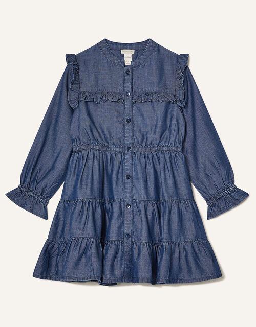 MINI ME Samson Tiered Denim Dress, Blue (BLUE), large
