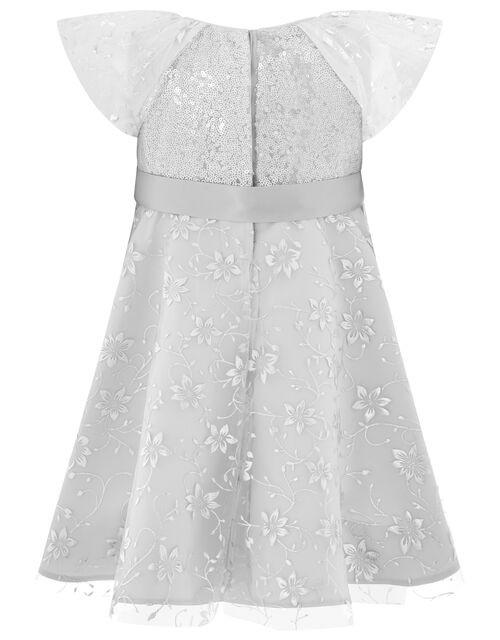 Baby Millie Sequin Party Dress, Silver (SILVER), large