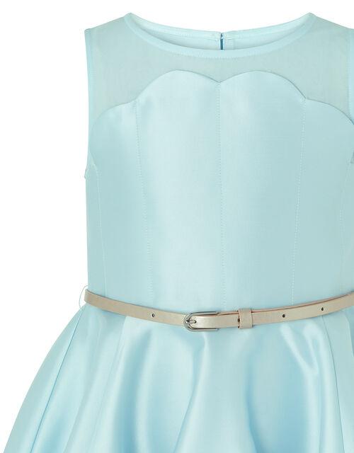 Shelley Scallop Dress with Belt, Blue (PALE BLUE), large