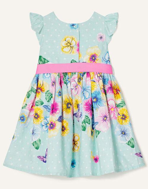 Baby Floral Jacquard Dress , Blue (AQUA), large