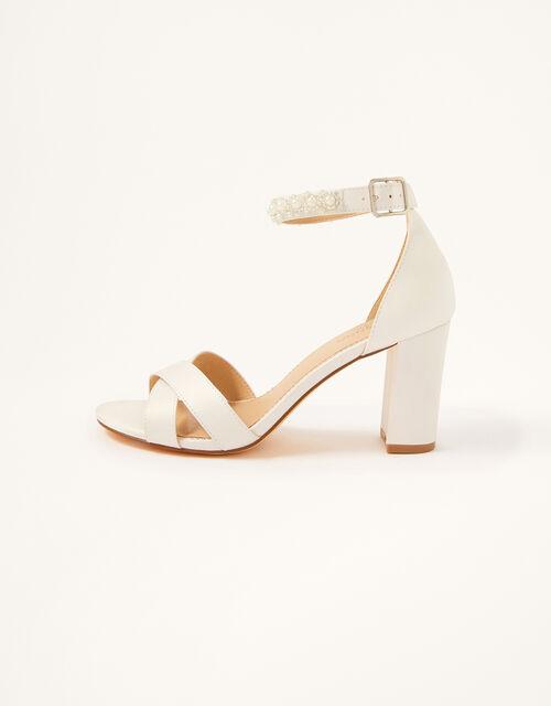 High Heeled Beaded Strap Bridal Sandals, Ivory (IVORY), large