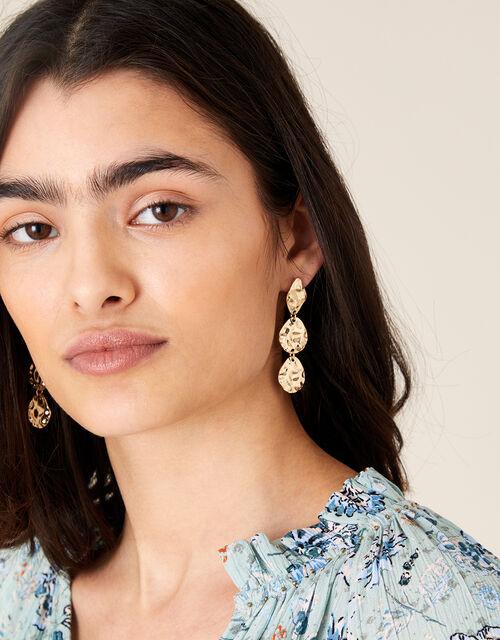 Hammered Triple Drop Earrings, , large