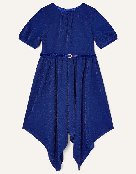 Shimmer Hanky Hem Dress Blue, Blue (BLUE), large