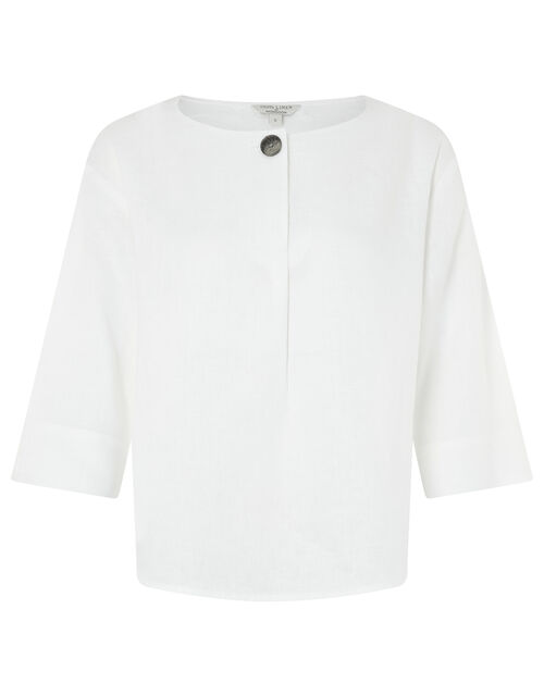 Scarlet Relaxed Blouse in Pure Linen, White (WHITE), large