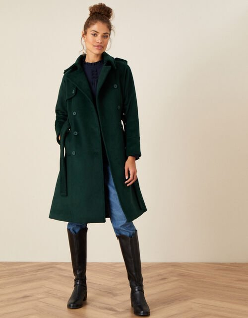 Wren Trench Coat in Wool Blend, Teal (TEAL), large