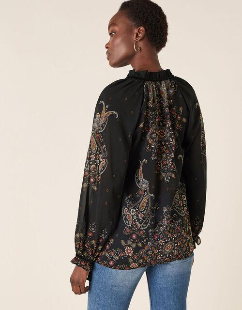 Paisley Print Sequin Blouse, Black (BLACK), large