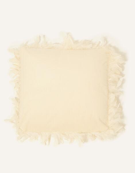Feather Trim Velvet Cushion, , large
